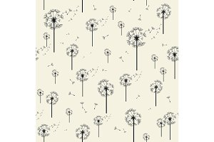 Dandelion Vector Seamless Pattern