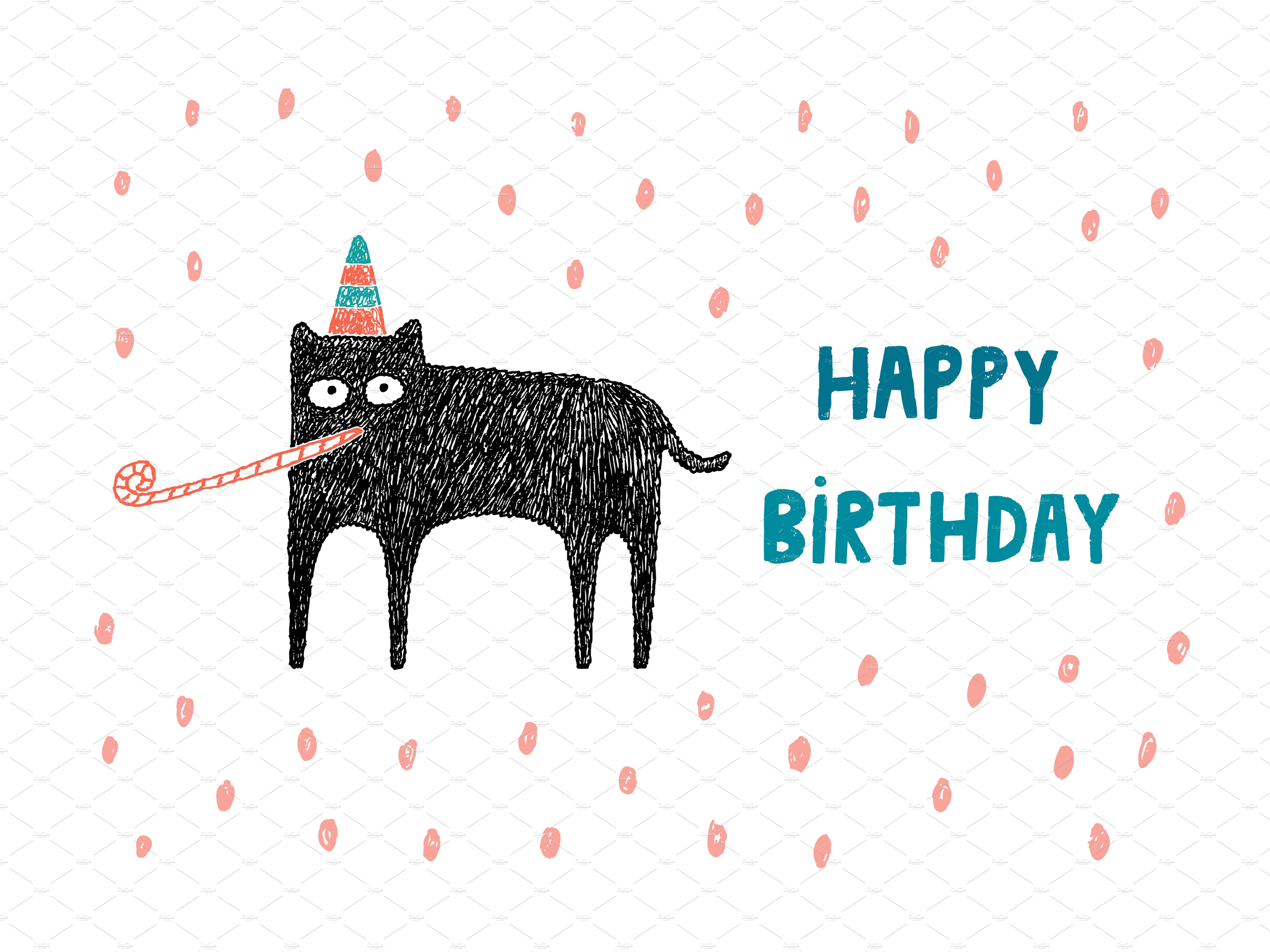 Happy birthday card Illustrations Creative Market – Birthday Cards Cat