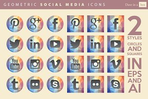 Geometric Vector Social Media Icons