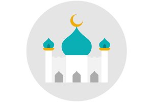 Mosque icon flat