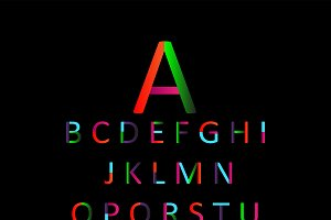 Flat font colored, vector