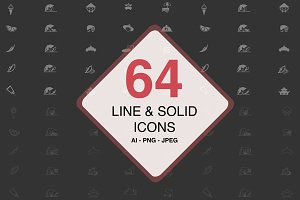 64 Line & Solid Food Icons