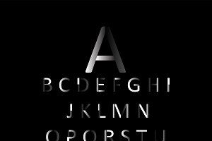 Flat font black color, vector