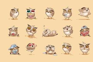 Set Vector owls emoticons