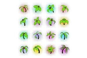 Palm tree icons set, pop-art style