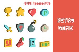 8 bit isometric icons
