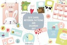 Cute card, notebook, calendar 2017