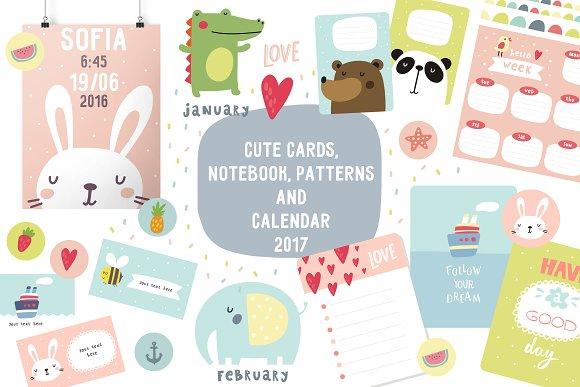 Cute Calendar Illustration : Cute card notebook calendar illustrations