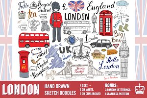 London Sketched Doodles Vector set
