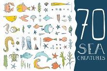 70 Hand Drawn Sea Creatures