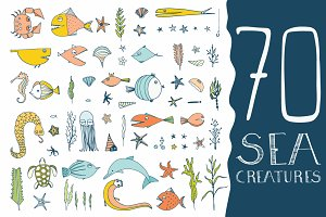 70 Hand Drawn Sea Creatures