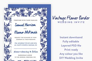 Vintage Floral Border Wedding Invite