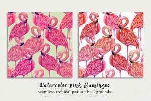 Watercolor flamingos patterns