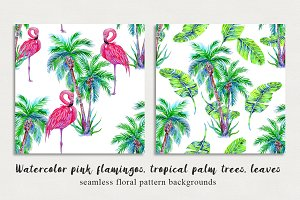 Watercolor flamingos,palms patterns
