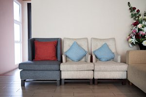 pillows on classic style sofa