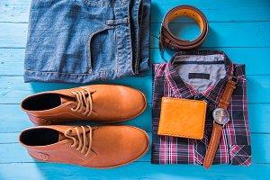 Flat lay of men casual fashion