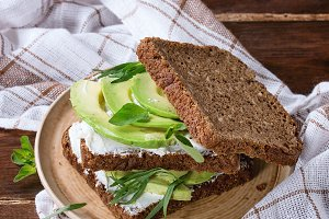 Avocado and ricotta sandwich