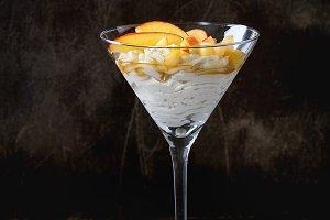 Ricotta dessert with peach