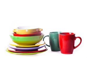 The composition of coloured utensils