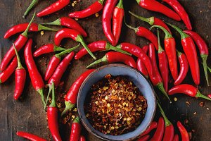 Heap of red hot chili peppers
