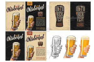 Posters oktoberfest. Glass beer