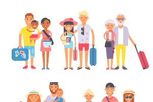 Different people on vacation vector