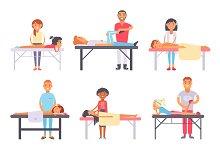 People different massage vector set