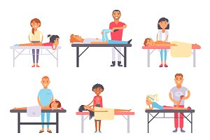 People different massage vector set