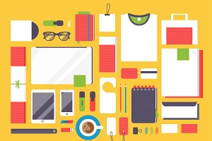 Flat mockup web design vector set