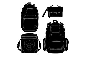 4 fashionable men bags. Vector