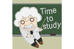 Old professor. Time to study. Vector