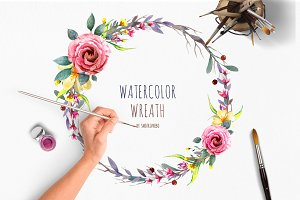 Watercolor wreaths with flowers