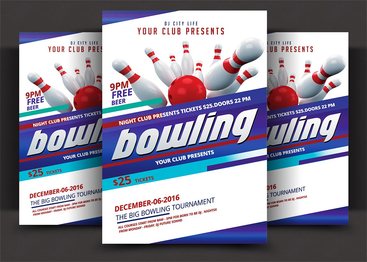 Bowling flyer template Photos Graphics Fonts Themes Templates – Bowling Flyer Template