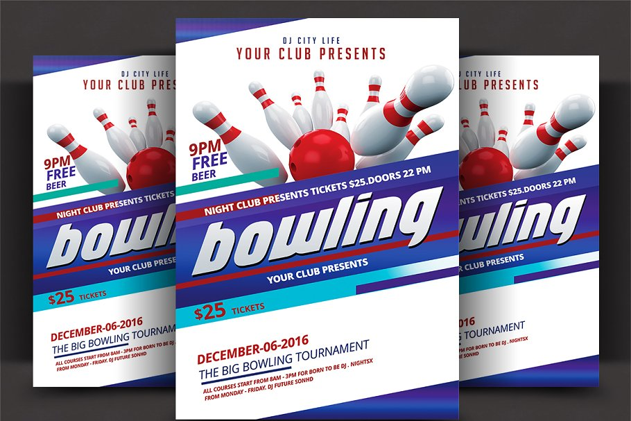 Bowling Tournament Flyer Flyer Templates Creative Market Pro