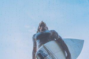 surfer in the rain