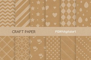 Digital Kraft Paper White Patterns