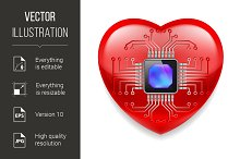 Red heart with microchip