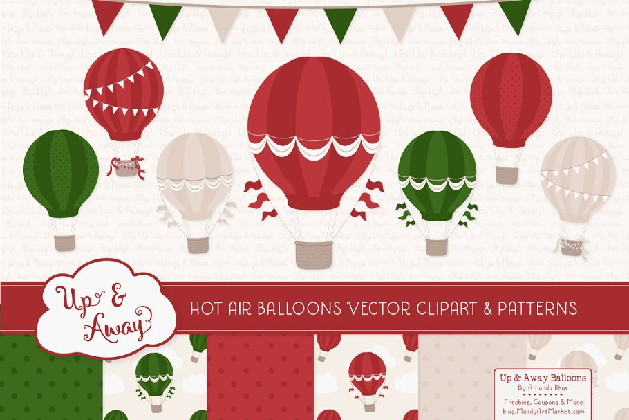 Christmas Hot Air Balloons Papers Illustrations