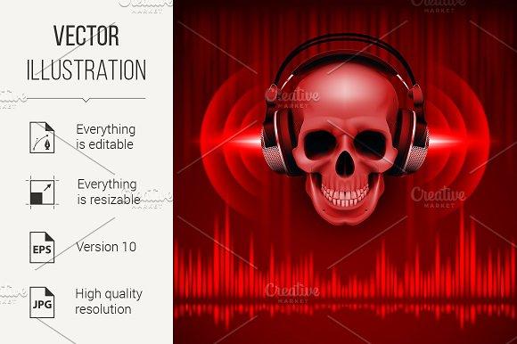 Skull in headphones. Disco backgroun - Graphics