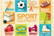 Flat sport vector illustration icons