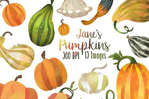 Fall Pumpkins and Gourds Clipart