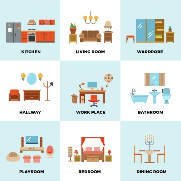 Living room bedroom kitchen graphics creative market for Living room bedroom bathroom kitchen