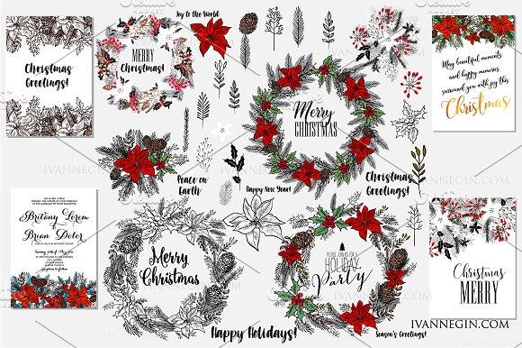 38 Christmas wreath clipart 4 card