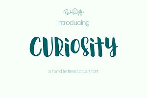 Curiosity, hand lettered brush font