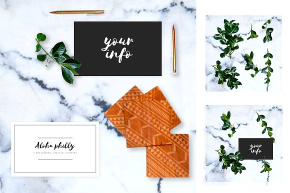 Greenery Leaf + Marble Mockup Pack