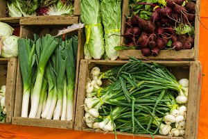 Fresh produce display at the market