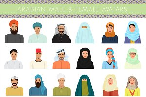 Arabian muslim people avatars set.
