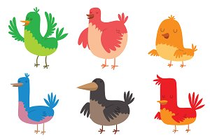 Funny birds character vector