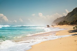 Beautiful secret tropical sea beach with gorgeous waves on the island dream paradise of Bali nature, Indonesia