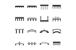 Bridge set icons, simple style